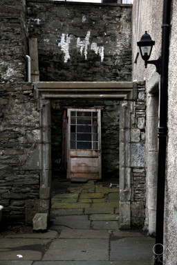 Travel photography destination Shetland island, Scotland. street doors stones lerwick