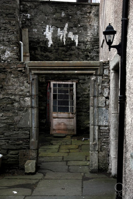 Travel photography destination Shetland island, Scotland. street doors stones lerwick