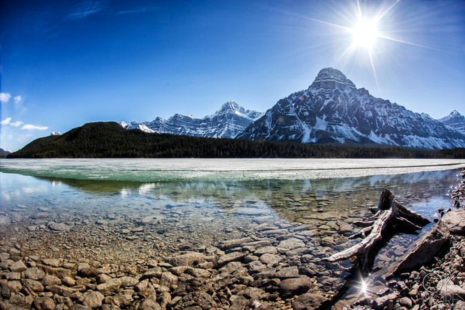 Travel photography, destination Canada Rockies lake reflection and snowy mountains, banff to jasper