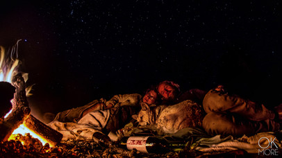 night photography, milky way and stars, northern california hills, family at campfire