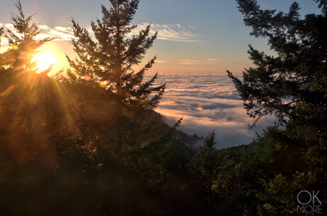 Travel photography destination California: humboldt lost coast, sunset over the fog, pacific ocean