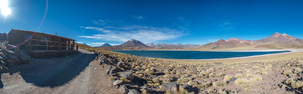 Landscape photography, volcano and lagoon in Atacama desert, Chile. Laguna Miscanti, 4140m elevation