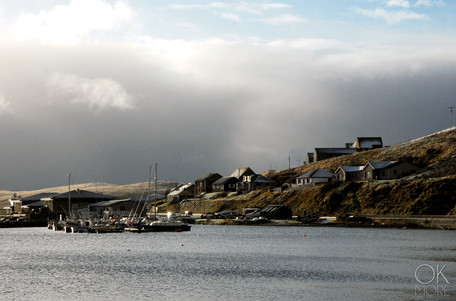 Travel photography destination Shetland island, Scotland scalloway town coast