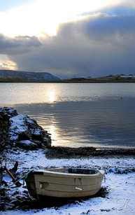 Travel photography destination Shetland island, Scotland scalloway town coast boat