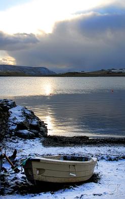 Travel photography destination Shetland island, Scotland scalloway town coast boat