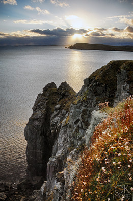 Travel photography destination Shetland island, Scotland lerwick cliffs sunset coast