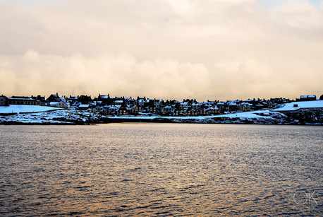 Travel photography destination Shetland island, Scotland, lerwick town at sunset winter snow