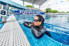 Commercial portrait, freediver practice