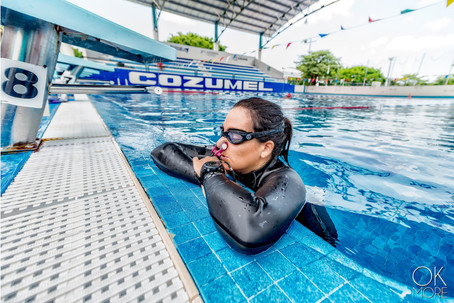 Commercial photography: freedive training, swimming pool