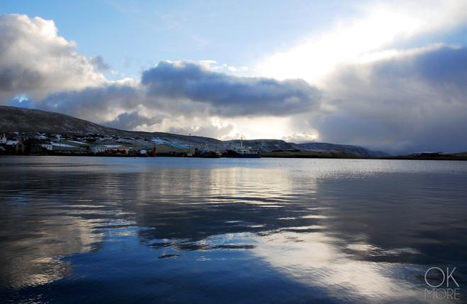 Travel photography destination Shetland island, Scotland scalloway town coast reflection sea winter snow