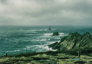Travel photography destination France: Bretagne pointe du raz finistaire stormy atlantic ocean cliffs