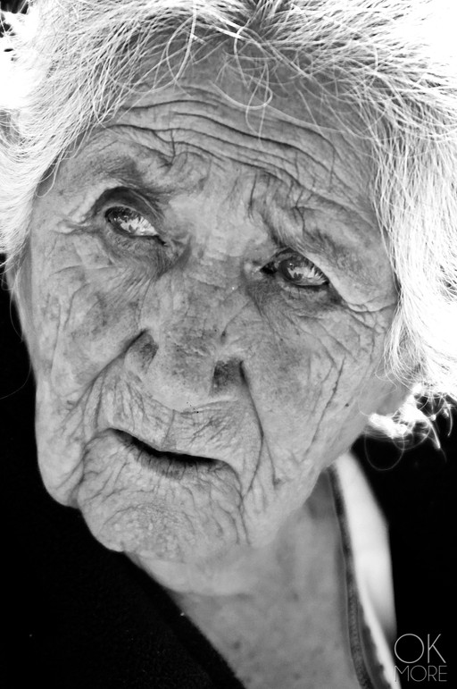 Portrait of an elderly mexican woman in black and white