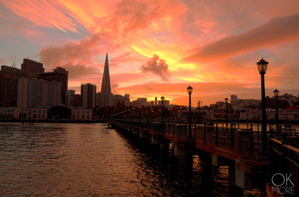 Travel photography destination California: san francisco landscape downtown bay area, pier and skyline at sunset