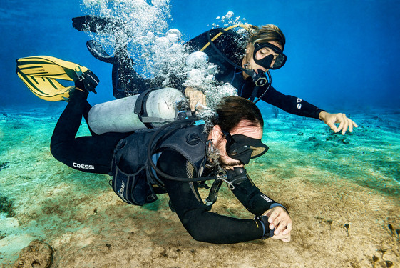 Commercial photography: blue project Underwater caribbean ocean, mesoamerican barrier reef, scuba divers training