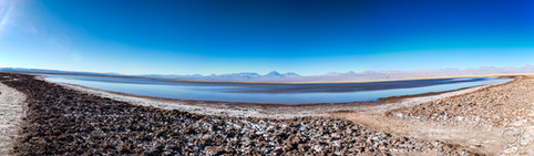 Landscape photography, volcano and lagoon in Atacama desert, Chile.
