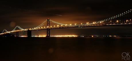 Travel photography destination California: san francisco landscape downtown bay area, bridge at night