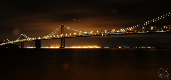 Travel photography destination California: san francisco landscape downtown bay area, bridge at night