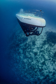 Commercial photography: Atlantis Submarine at the wall, underwater deep diving, mesoamerican barrier reef