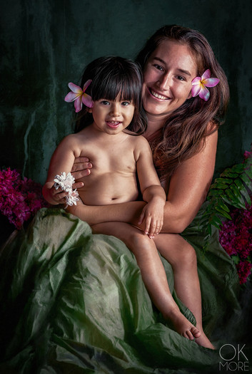 Fine art portrait, mother and child with flowers