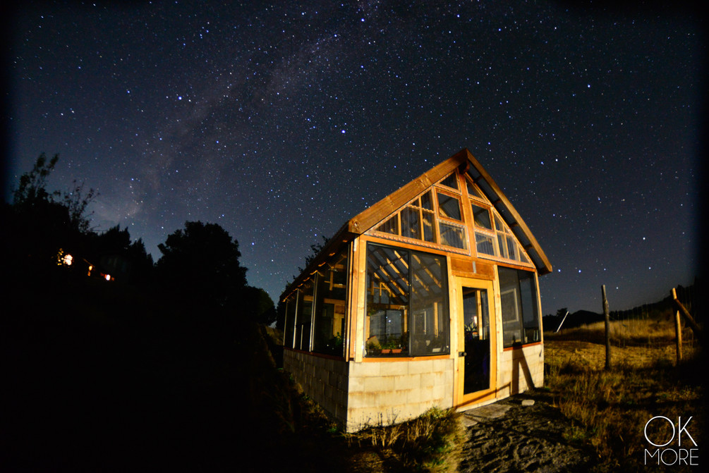 night photography, milky way and stars, northern california hills, greenhouse