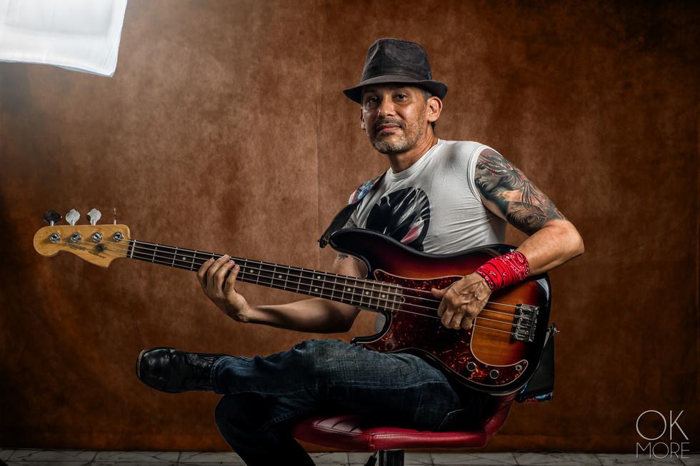 Commercial photography: musician studio portait session, Josue Martinez bass player