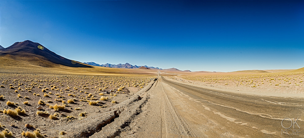 Landscape photography, Atacama desert, Chile, volcanos and dirt road
