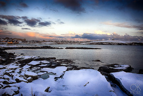 Travel photography destination Shetland island, Scotland lerwick town coast sunset sea winter snow