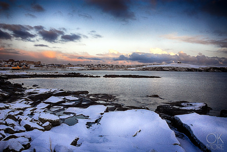 Travel photography destination Shetland island, Scotland lerwick town coast sunset sea winter snow