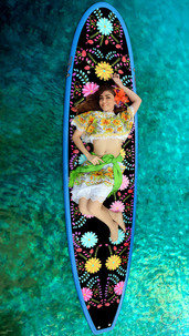 Commercial photography: paddleboard and woman, model on water