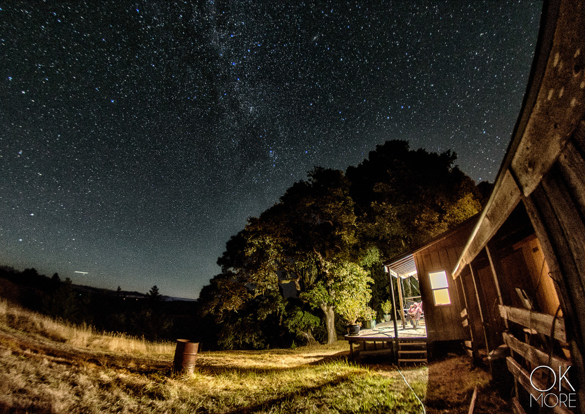 night photography, milky way and stars, northern california hills, porch and trees