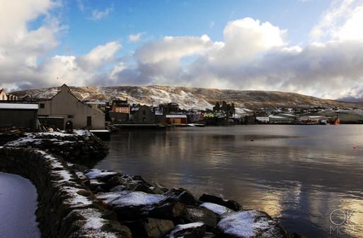 Travel photography destination Shetland island, Scotland scalloway town coast winter snow