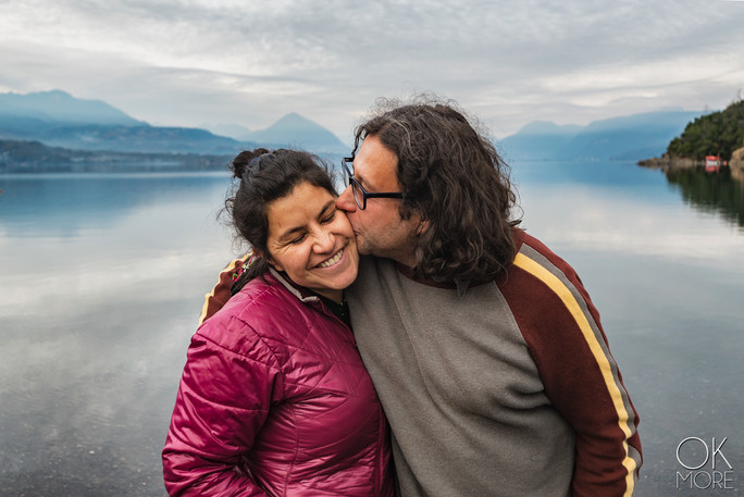 Travel photography, destination south Chile: couple by lake, villarrica