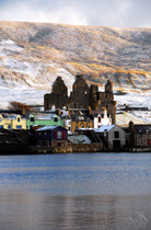 Travel photography destination Shetland island, Scotland, scalloway coast town castle ruins winter snow