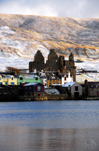 Travel photography destination Shetland island, Scotland, scalloway coast town castle ruins winter snow