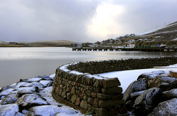 Travel photography destination Shetland island, Scotland scalloway town coast winter snow