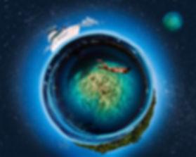 tiny planet cozumel, split shot over under caribbean