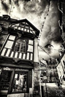 Bretagne, France, architecture street photography in black and white, Auray.