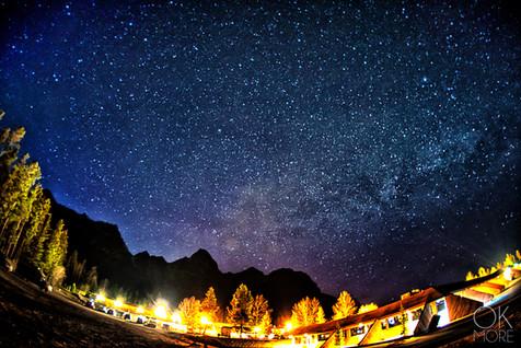 Travel photography, destination Canada Rockies milky way, night stars mountains