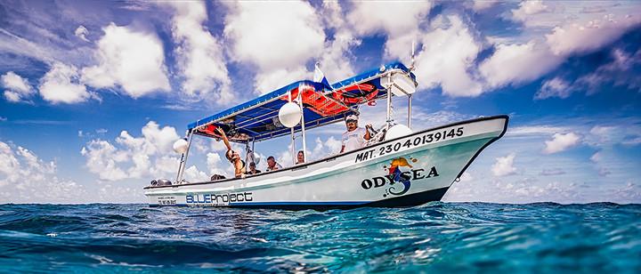 Commercial photography: Blue Project scuba dive boat, caribbean ocean