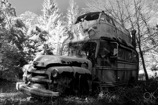 Travel photography destination California: humboldt abandoned vehicule, volkswagen over truck, hippy house, 60s black and white