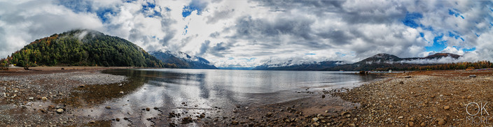 Travel photography, destination south Chile: lake, villarrica, reflection, clouds, caburga