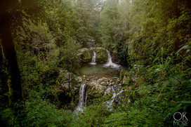 Travel photography, destination south Chile: waterfalls woods forest villarrica