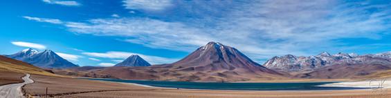 Landscape photography, volcano and lagoon in Atacama desert, Chile. Laguna Miscanti, 4140m elevation