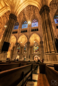 Travel photography destination New York: city cathedral yellow interior