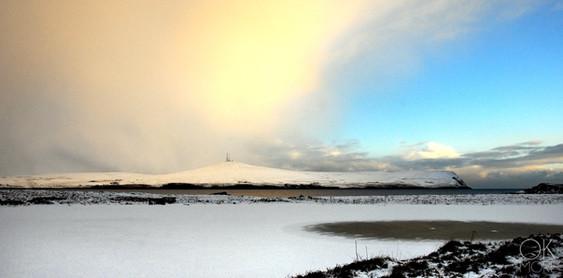 Travel photography destination Shetland island, Scotland lerwick town coast sunset sea winter snow frozen lake