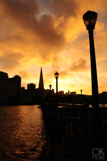 Travel photography destination California: san francisco landscape downtown skyline bay area pier at sunset