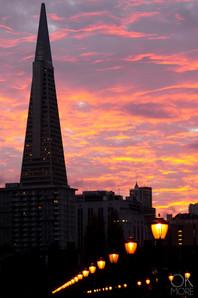 Travel photography destination California: san francisco landscape downtown skyline bay area pier at sunset