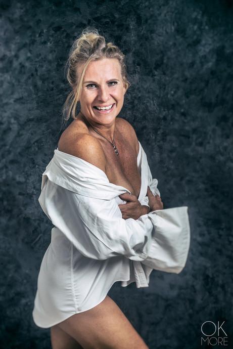 Fine art portrait, woman in shirt