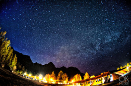 Night photography, milky way and stars in Canada, canadian rockies, saskachewan crossing