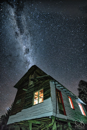 Travel photography, destination south Chile: night photography, stars and milky way, house